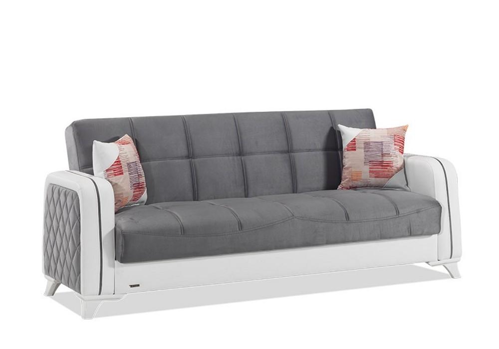 Canapé lit coffre velours gris ÉLITE