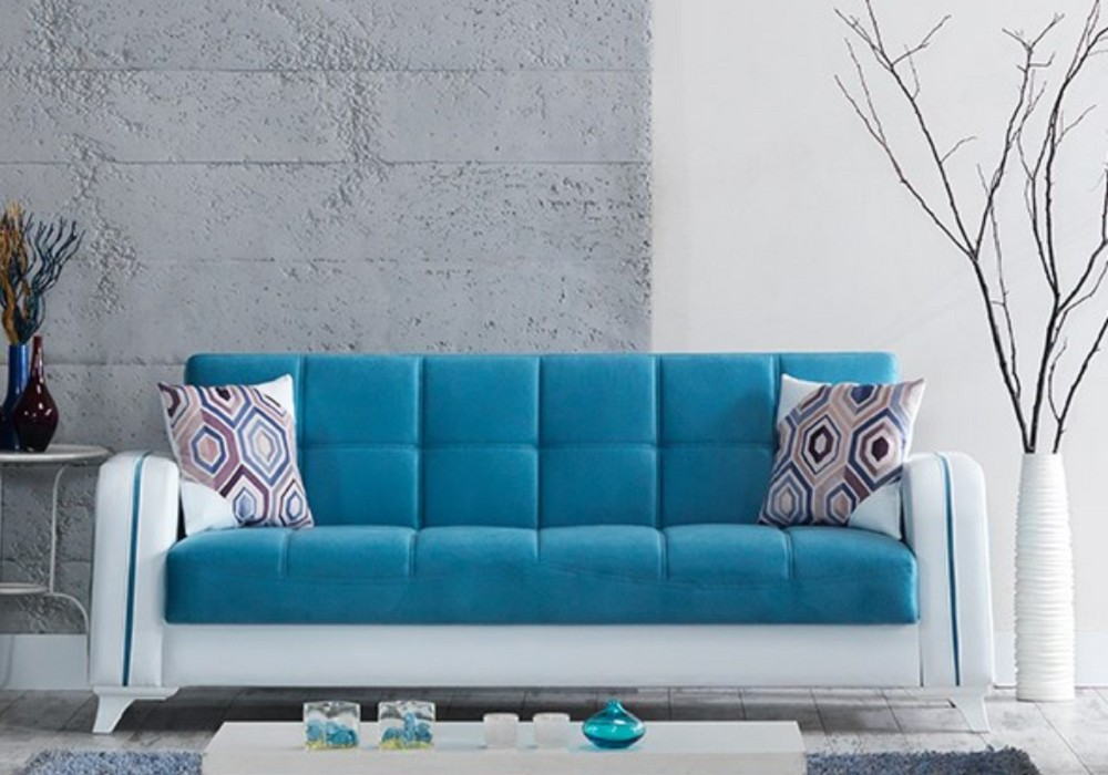 Canapé lit coffre velours bleu ÉLITE