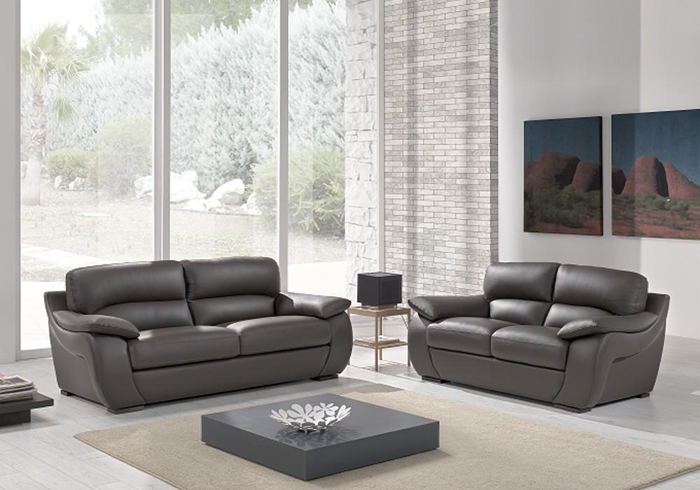 Canapé cuir gris design CATHARINA