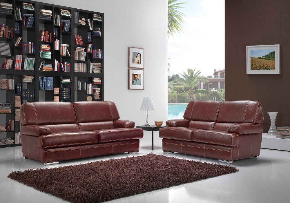 Canapé cuir design bordeaux ADEL