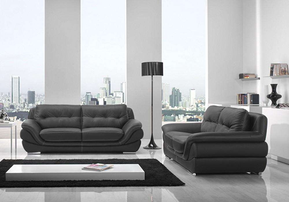 Canapé cuir noir design ALICIA