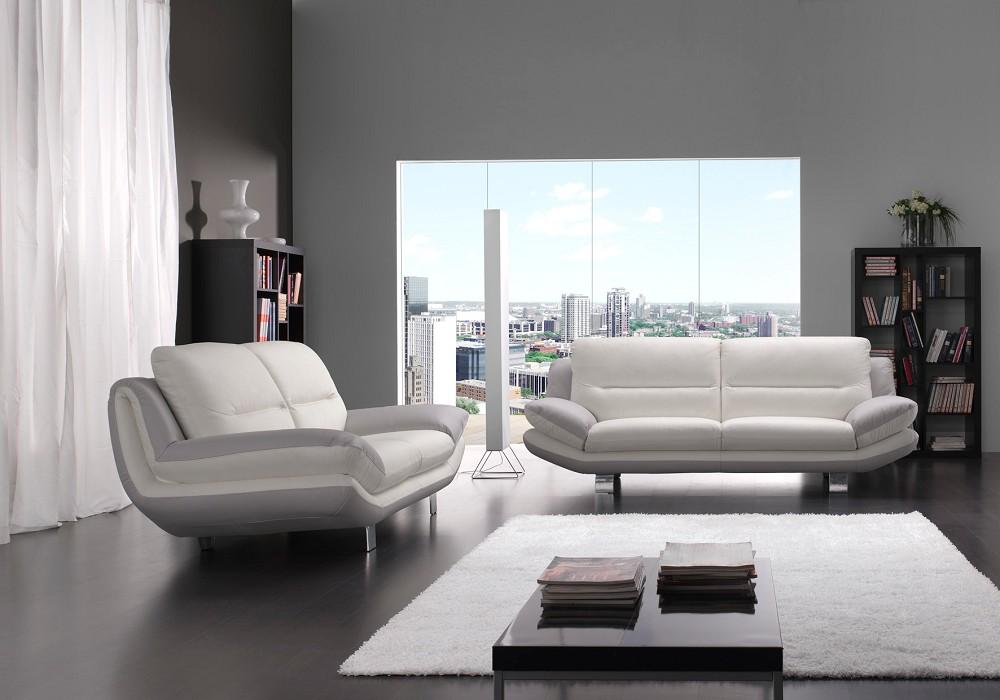 Canapé cuir design blanc gris BEA