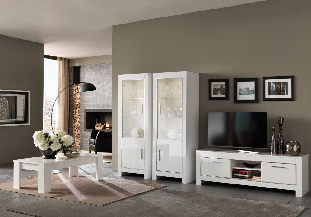 Vitrine meuble tv laqué blanc led MODENA