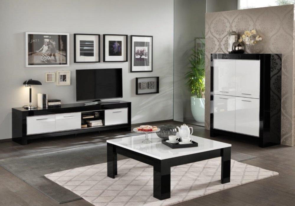 Bar meuble tv laqué noir blanc MODENA