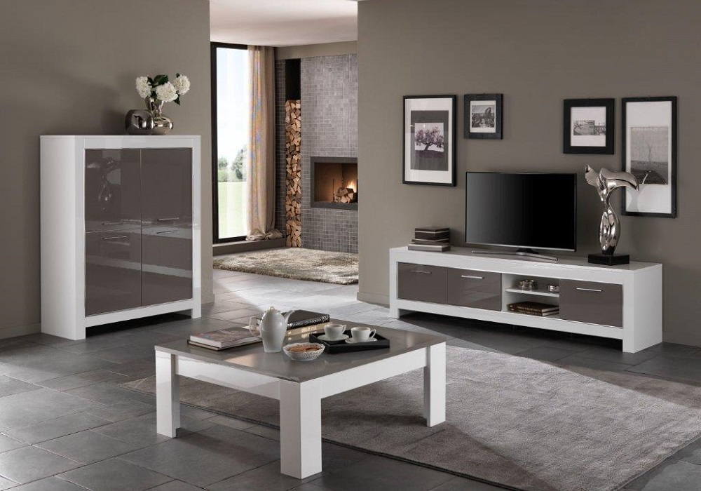 Bar meuble tv laqué blanc gris MODENA