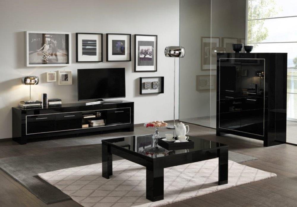 Bar meuble tv laqué noir MODENA