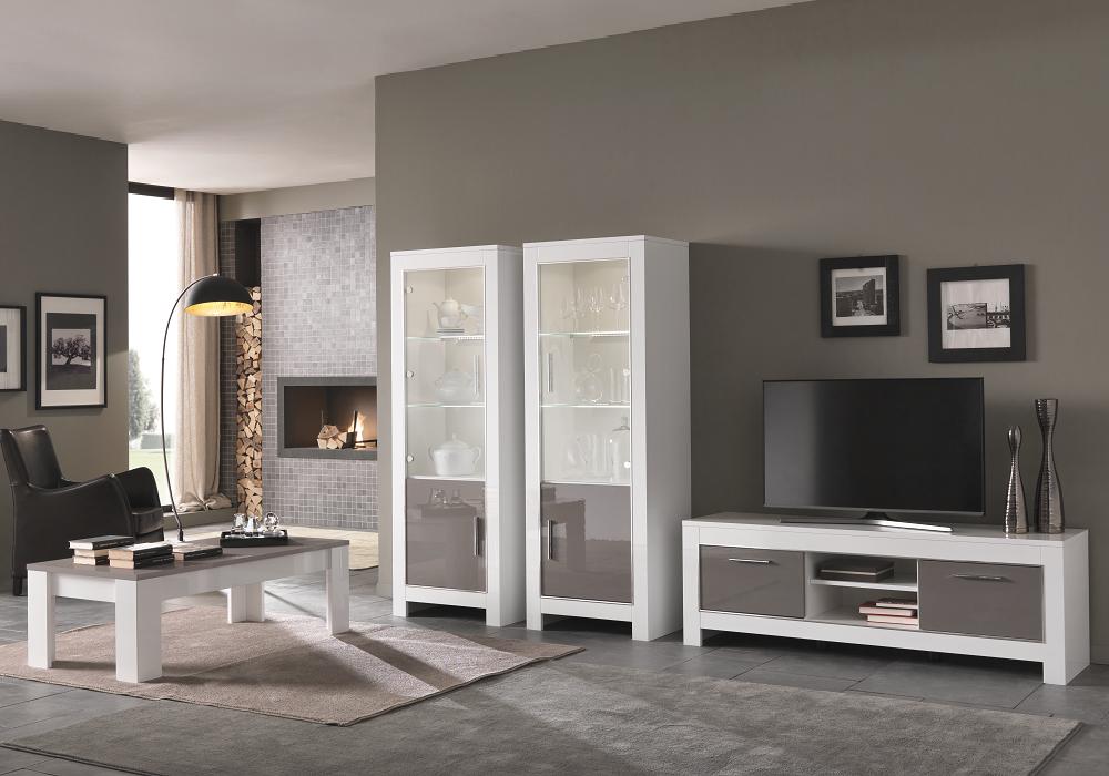 Vitrine meuble tv laqué blanc gris led MODENA