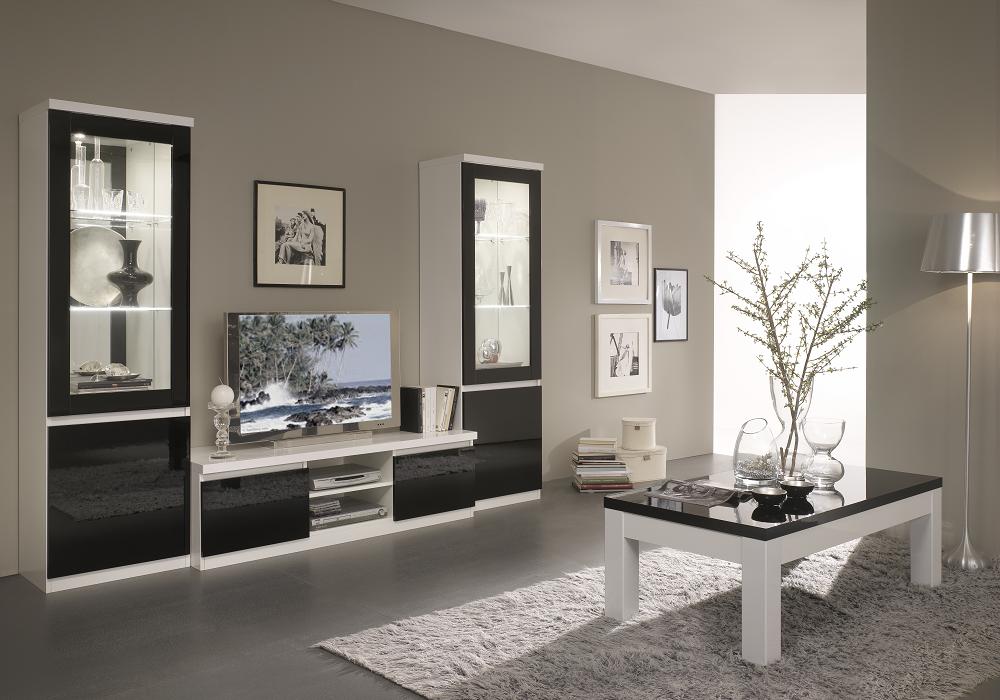 Vitrine meuble tv laqué blanc noir led ROMA