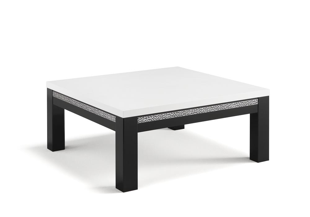 Table basse laqué noir blanc ROMA Crome