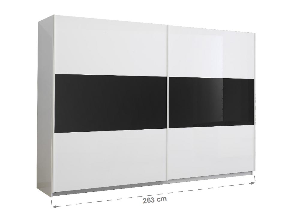 Armoire portes coulissantes laquée blanc noir JAZZ