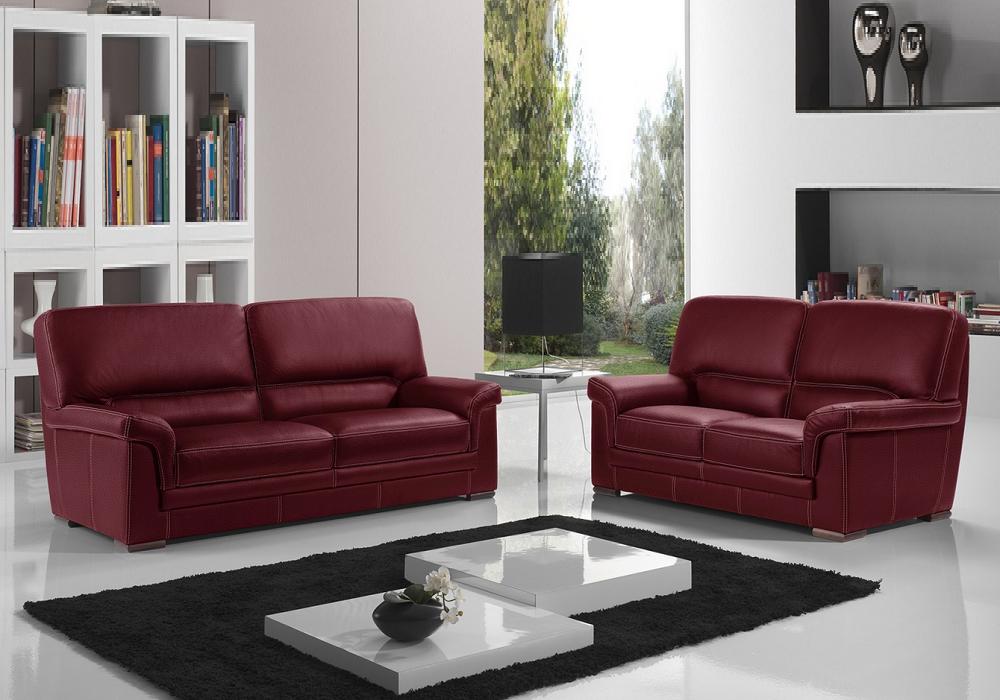 Canapé cuir design bordeaux ANITA