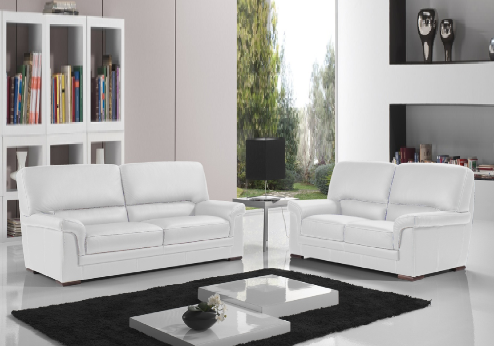 Canapé cuir design blanc ANITA