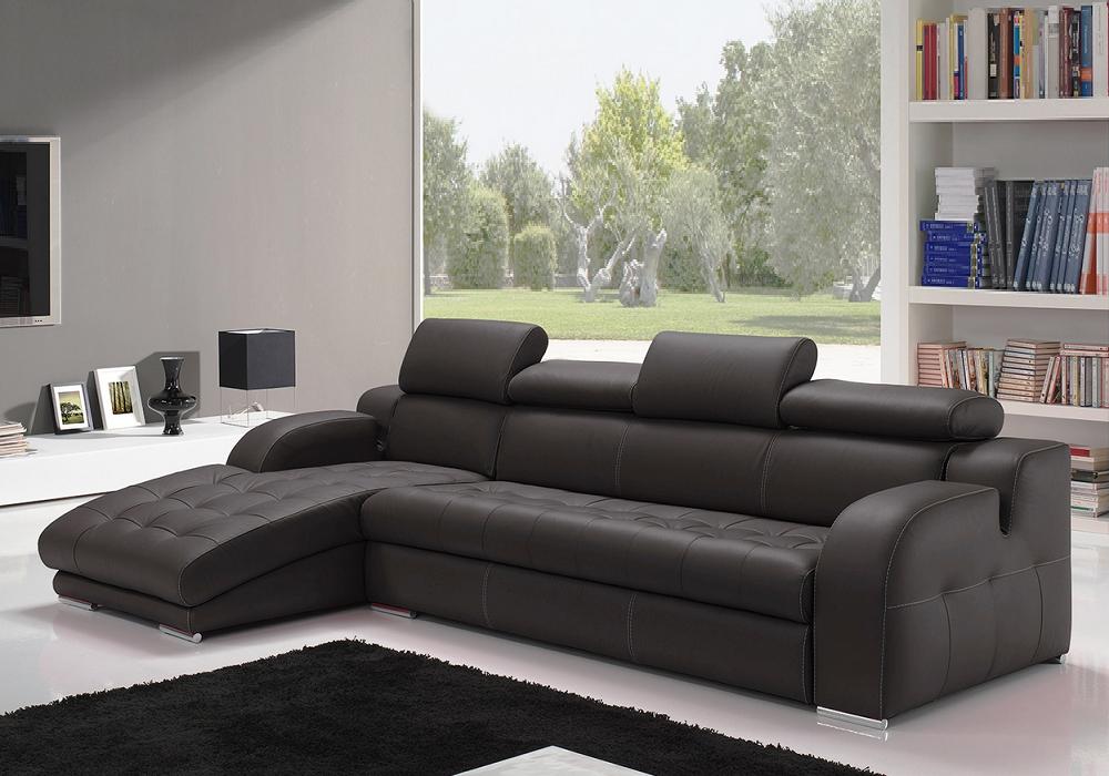 Canapé angle cuir noir têtières réglables AMELIE