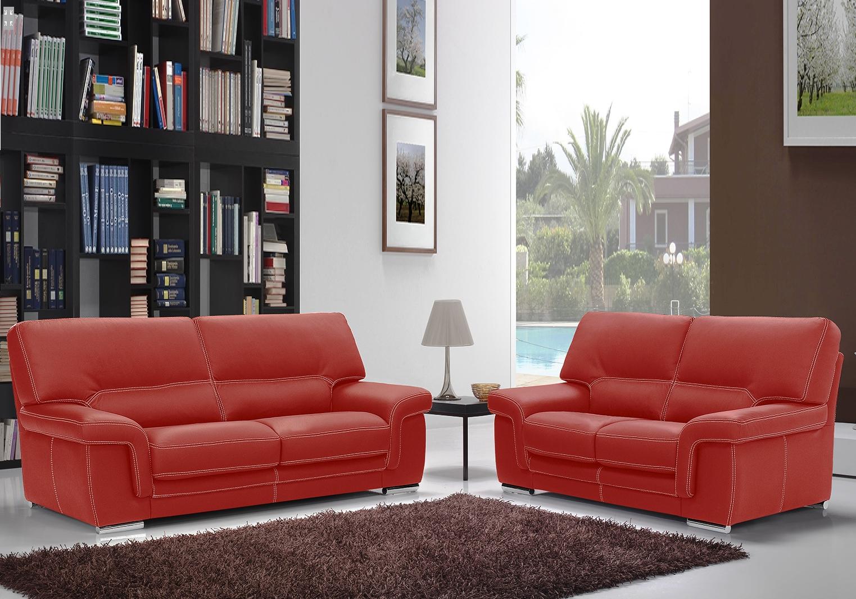 Canapé cuir design rouge ANNA