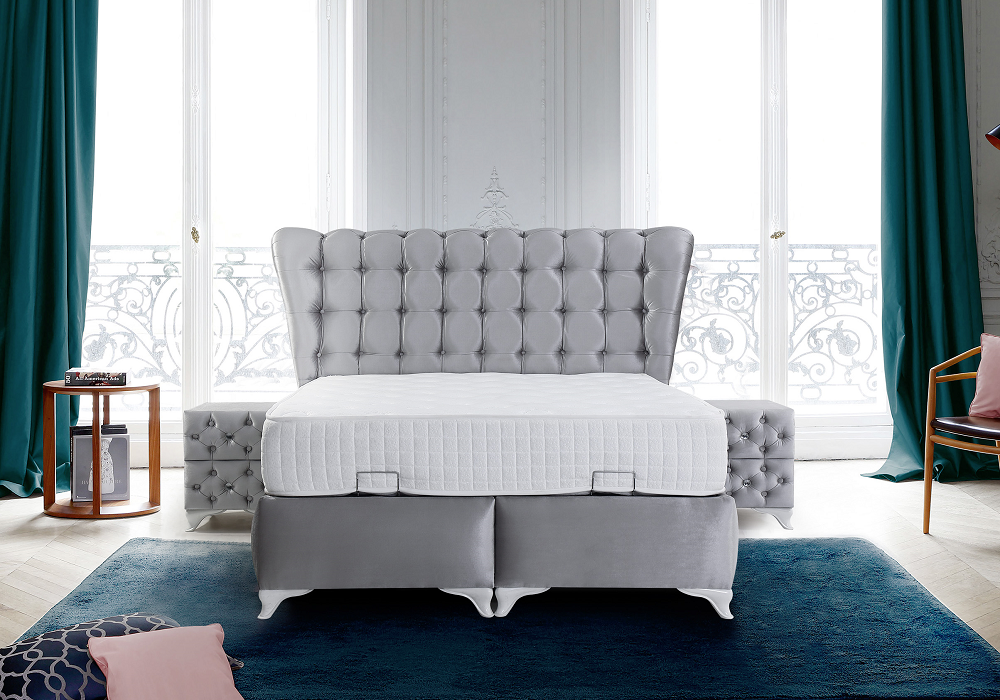 Lit coffre & tête de lit capitonnée gris CAPRICE