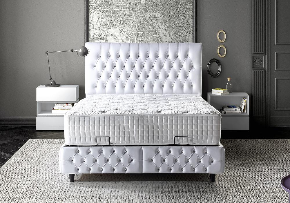 Lit coffre tête de lit capitonné blanc PARADISE