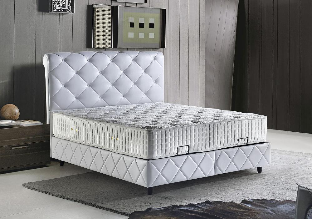 Lit coffre tête de lit capitonné blanc PARIS