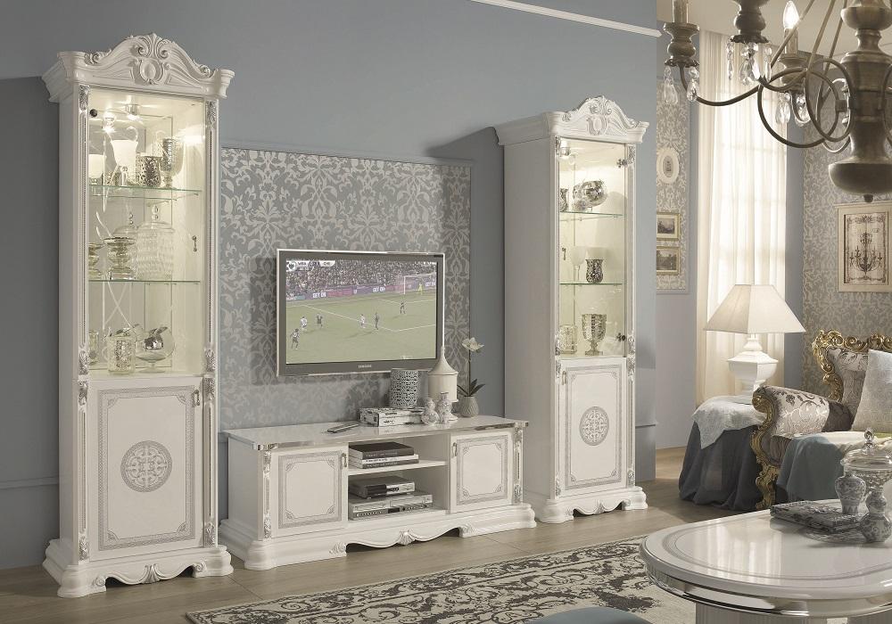 Mur TV baroque laqué blanc GRETA
