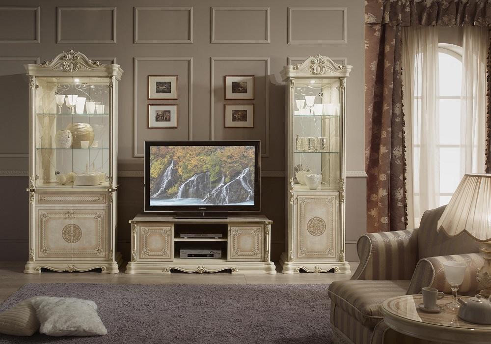 Mur TV baroque laqué beige GRETA