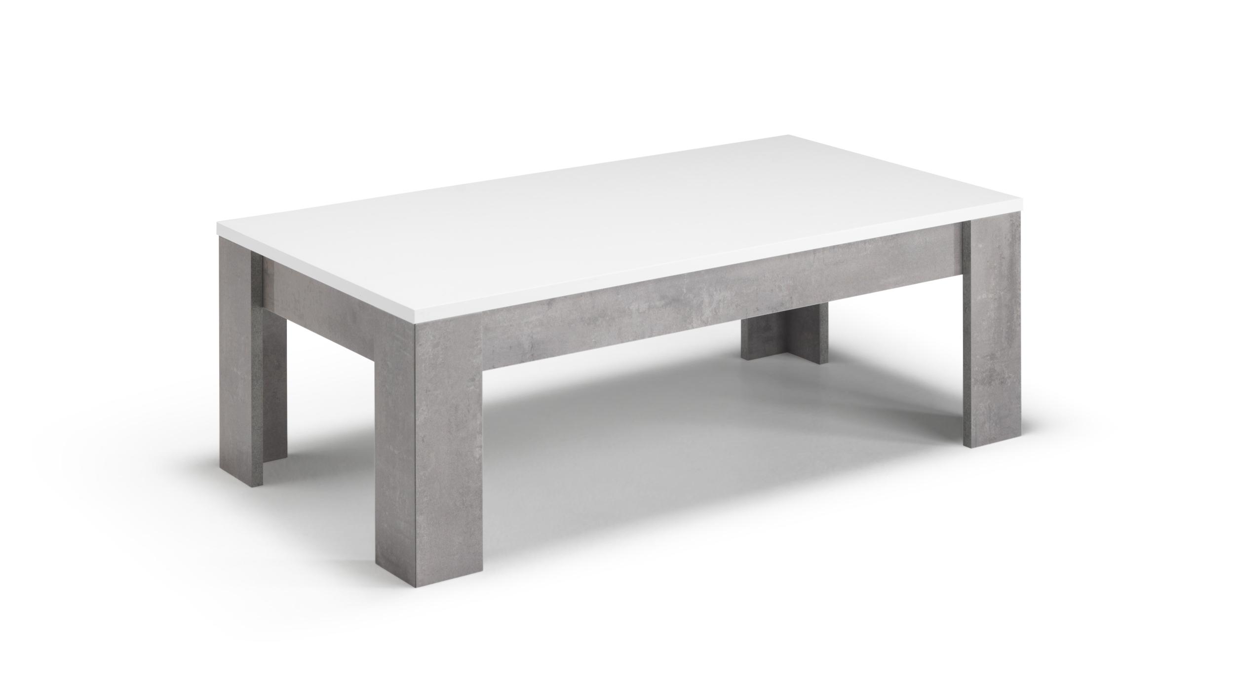 Table basse béton blanc laqué GRETA