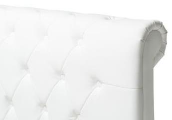 Lit capitonné cuir blanc ORA.1