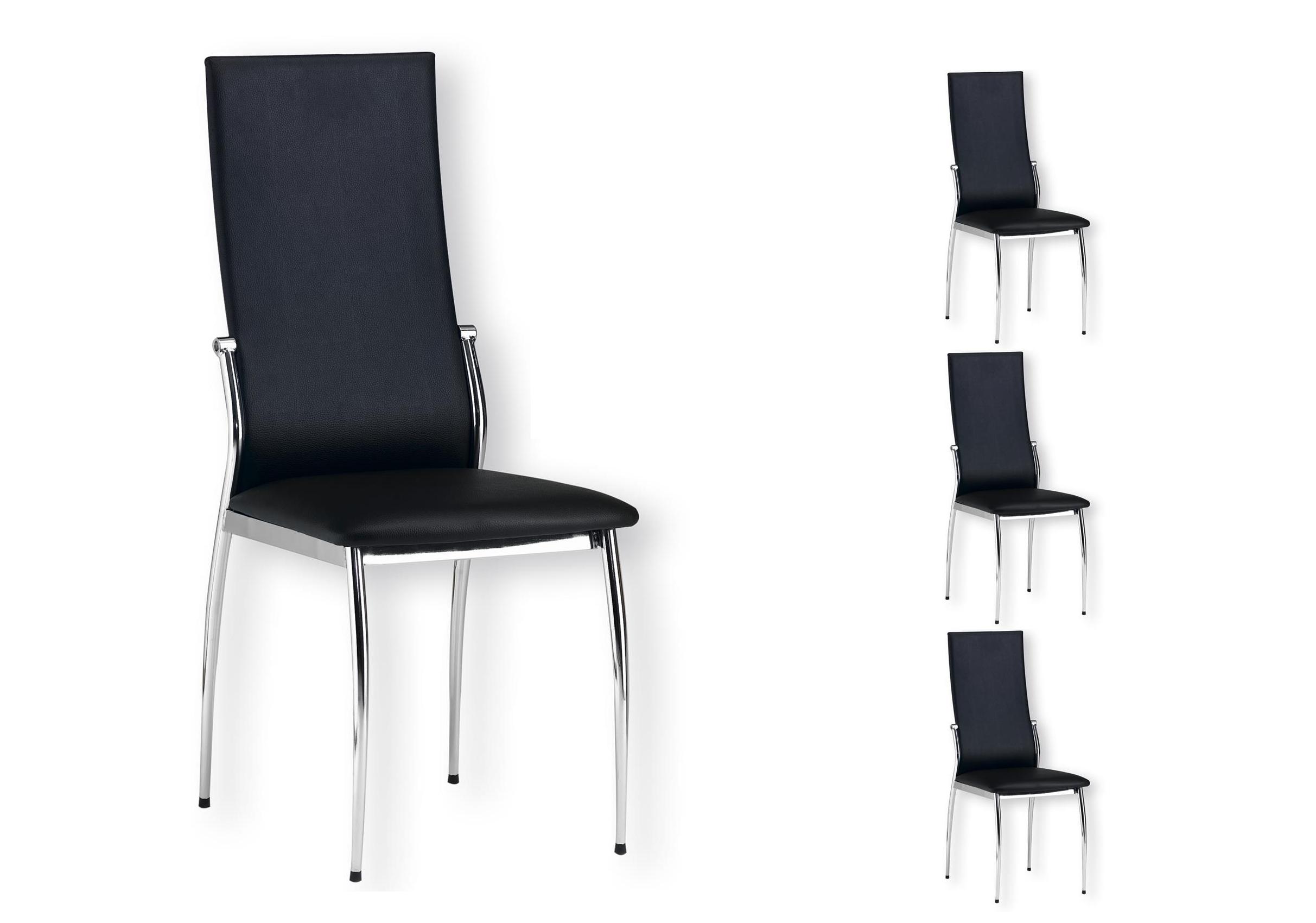 Lot 6 chaises chromé noir BEA