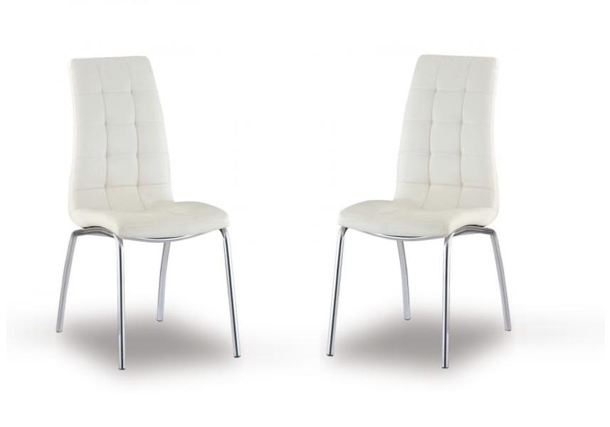 Lot de chaises chromé cuir blanc DEA