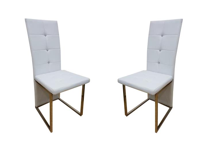 Lot de chaises chromé cuir blanc SYM