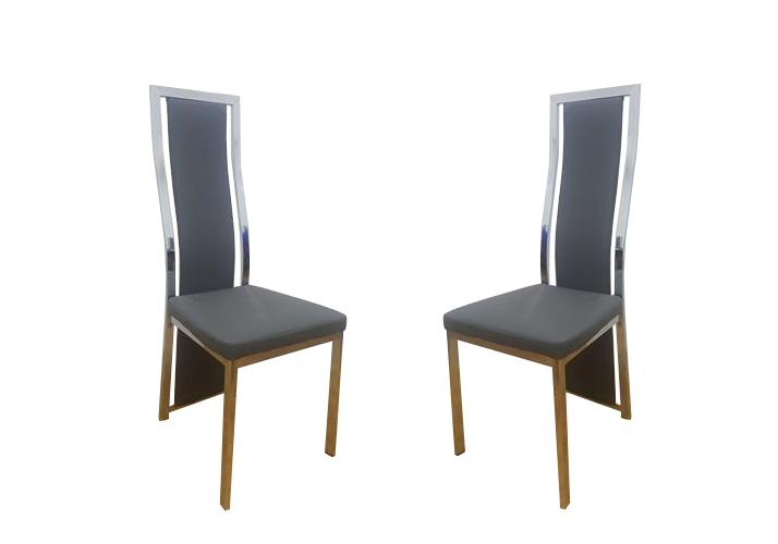 Lot de chaises chromé cuir gris DIA