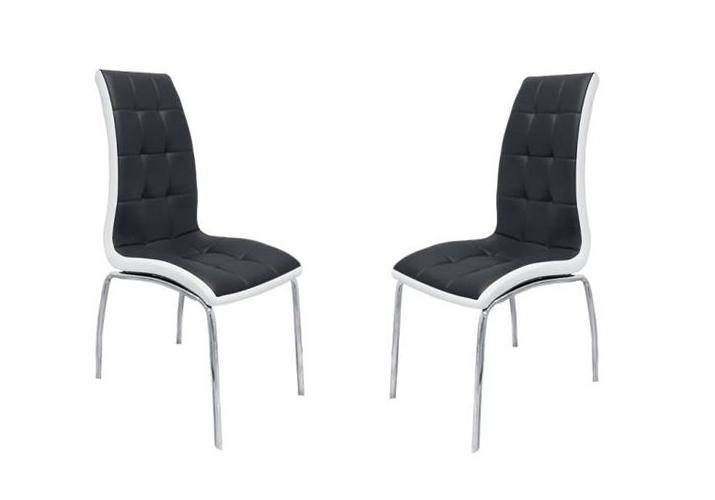 Lot de chaises chromé cuir noir blanc DEA