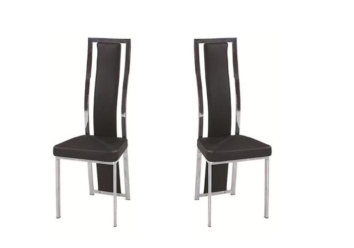 Lot de chaises chromé cuir noir DIA