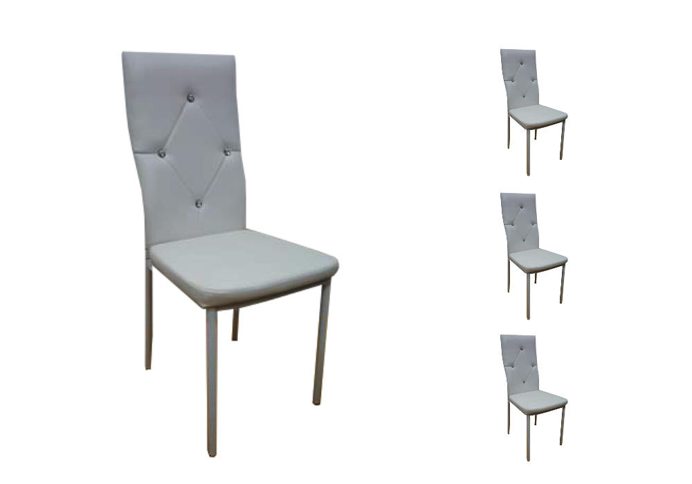 Lot 6 chaises simili strass gris ISA