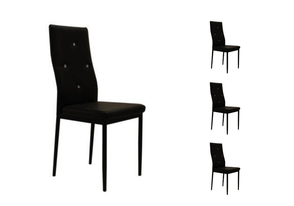 Lot 6 chaises simili strass noir ISA