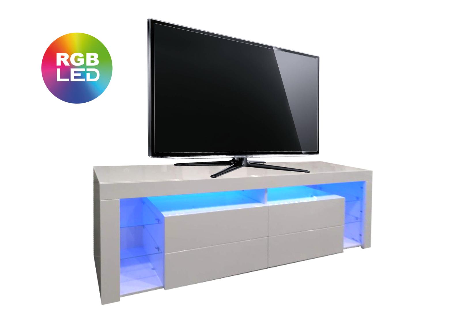 Meuble Tv laqué blanc LED OVA