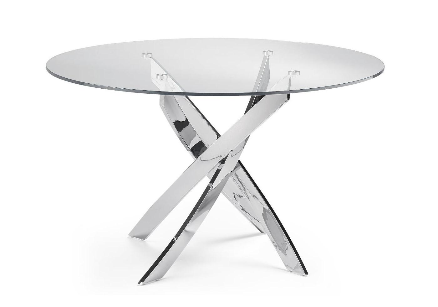 Table ronde chromé verre trempé DESIGN