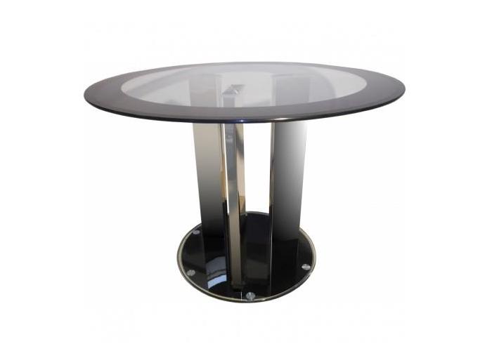 Table à manger ronde verre chromé REX.1