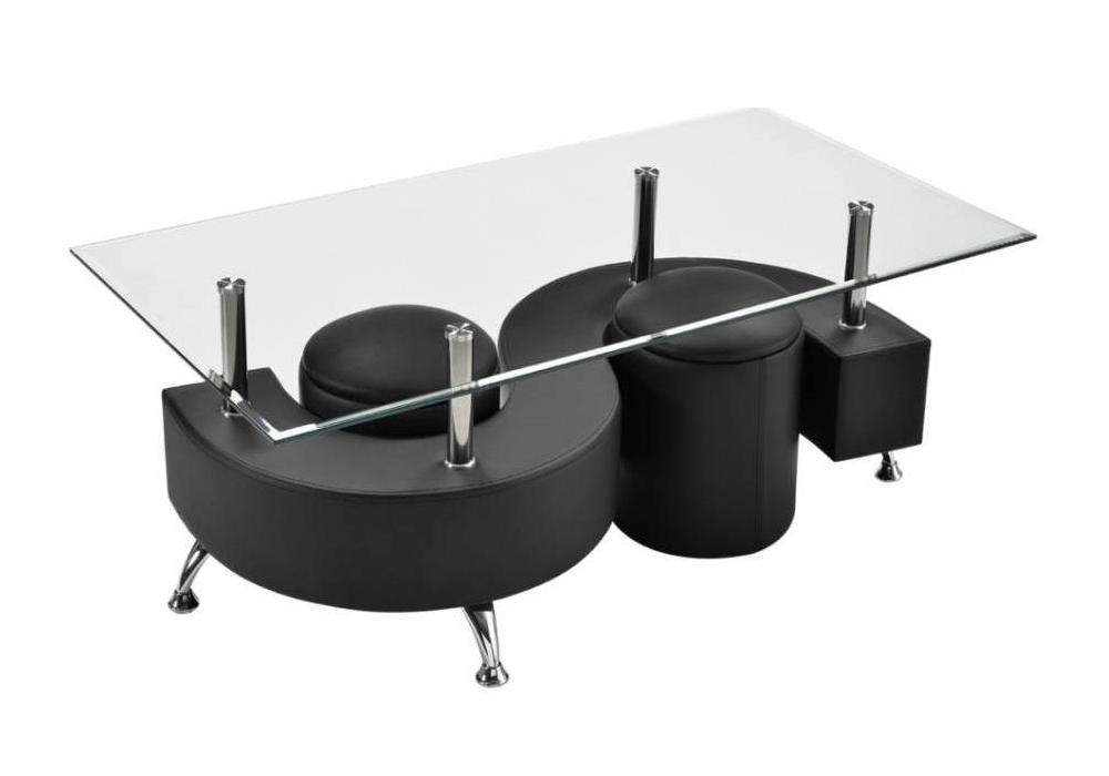 Table basse 2 poufs noir CLOE