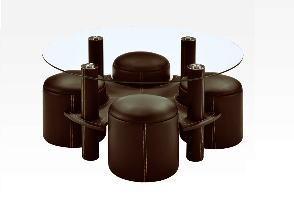 Table basse 4 poufs choco CLOE