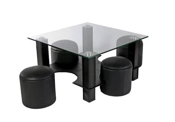 Table basse 4 poufs noir CORA