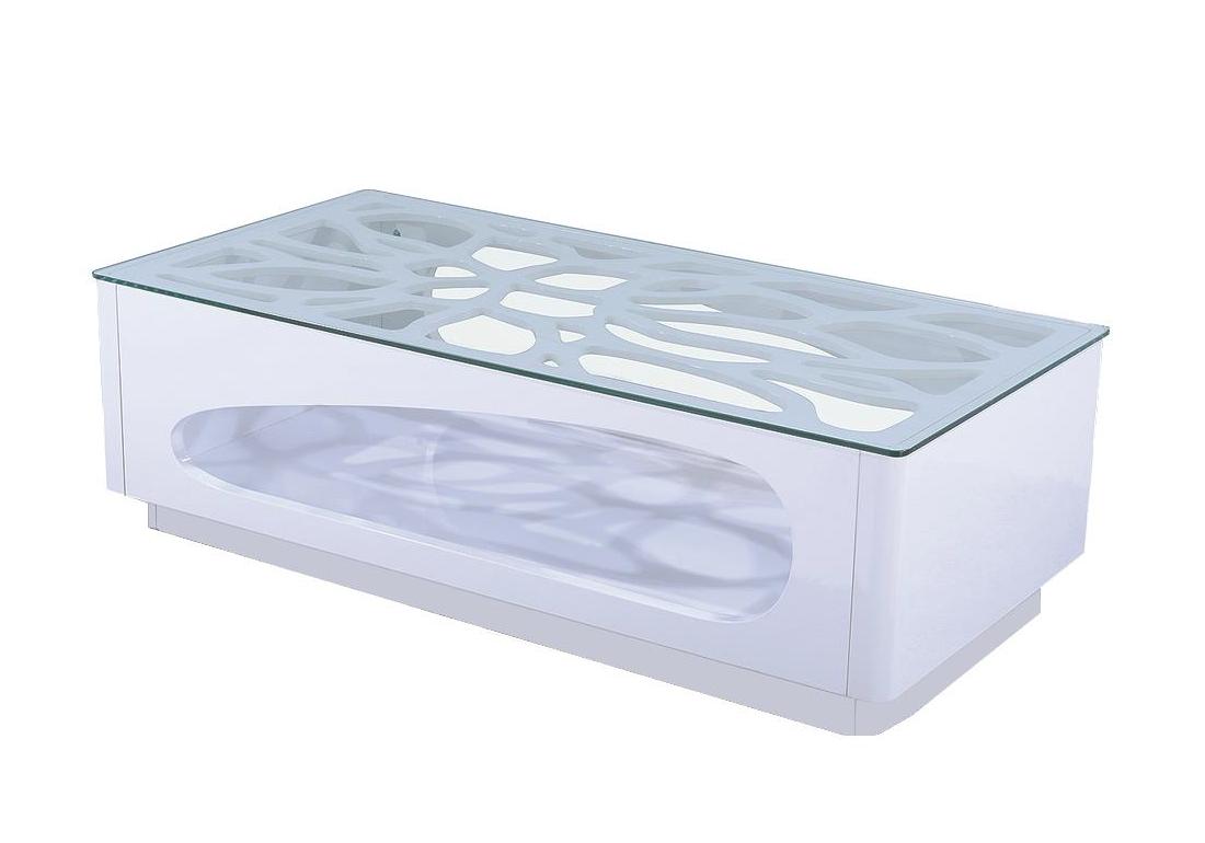 Table basse laqué blanc verre trempé FLO