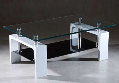 Table basse laqué blanc verre trempé TOE.1