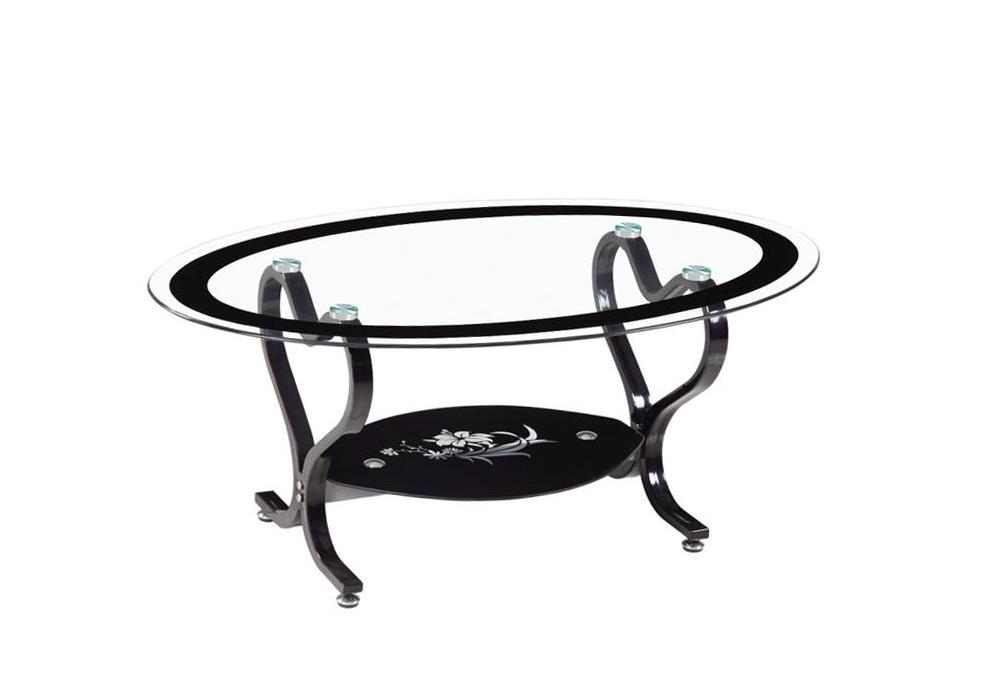 Table basse verre trempé noir COEUR