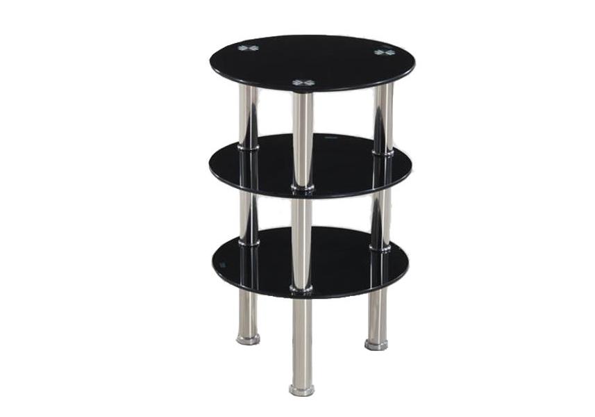 Table d'appoint chromé verre noir ZOA