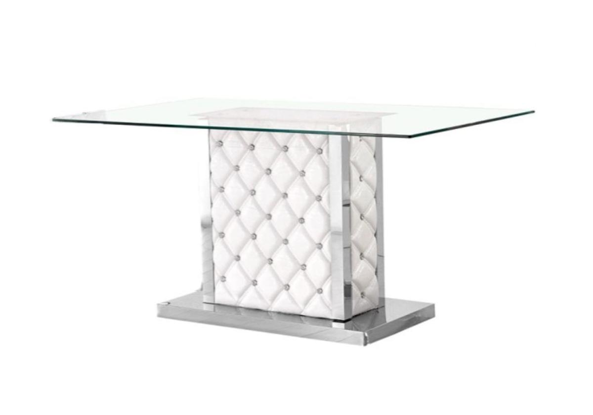 Table repas chromé verre trempé blanc STRASS