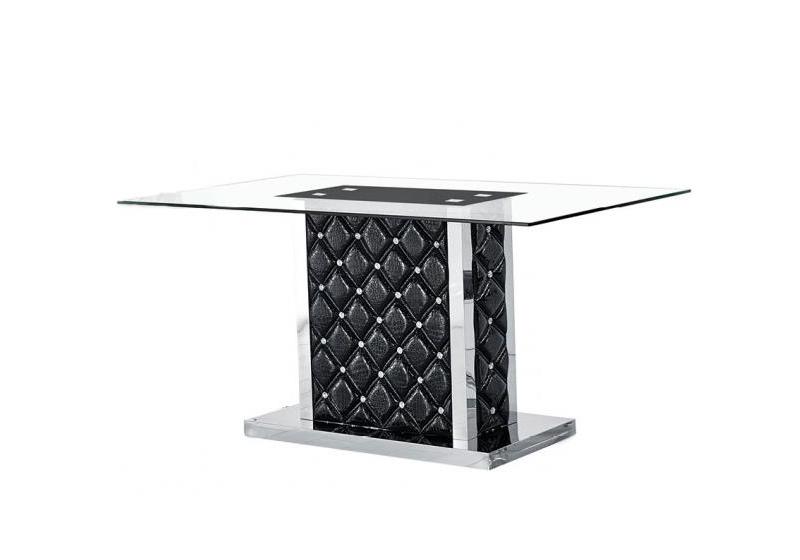 Table repas chromé verre trempé noir STRASS
