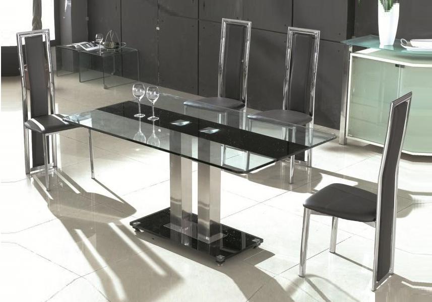 Table repas chromé verre trempé TAM