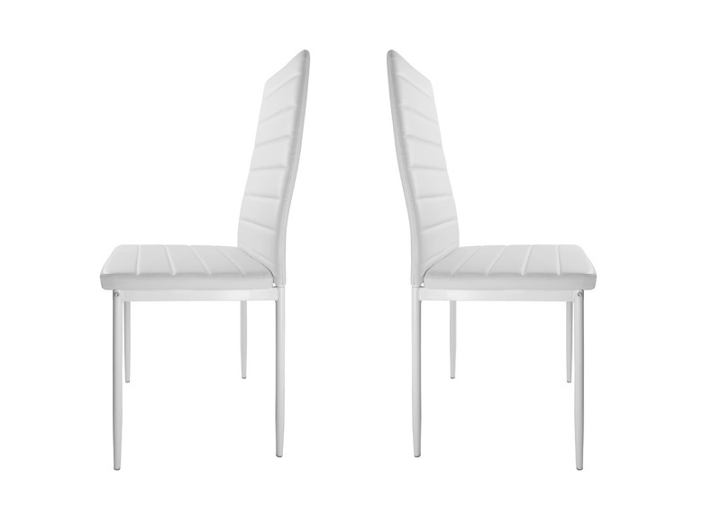 Table repas verre + 4 chaises blanc CONFO.5