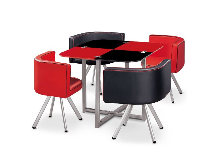 Table repas verre + 4 chaises rouge SPACE.1