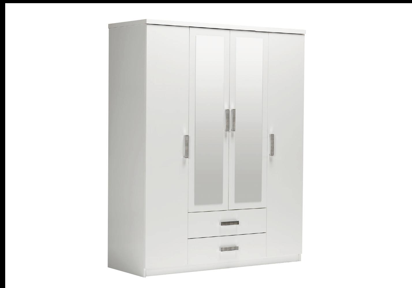 Armoire 4 portes 2 tiroirs miroirs blanc PALMA