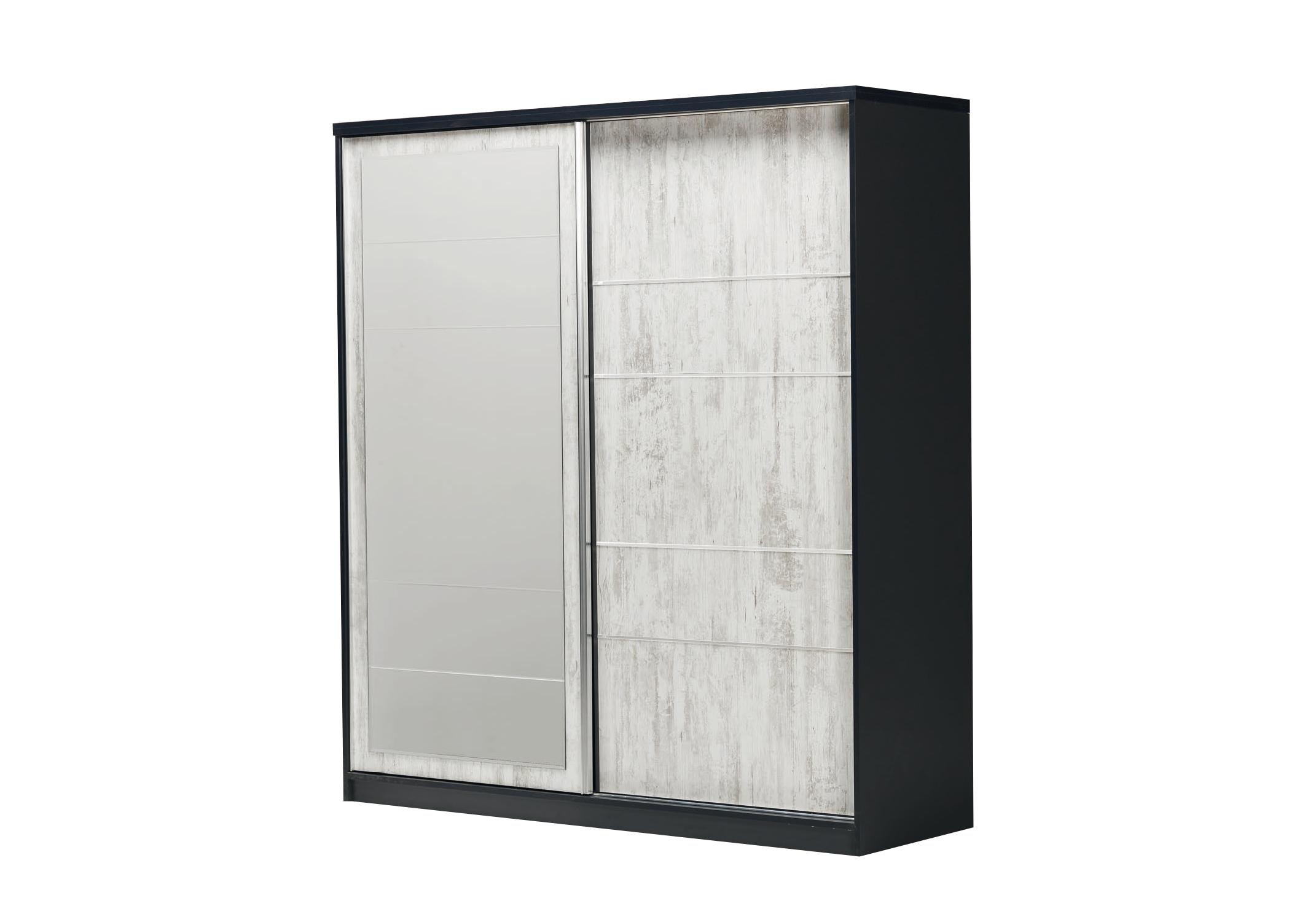 Armoire coulissante miroir chêne blanc IBIZA